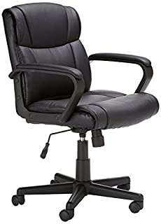AmazonBasics Classic Leather-Padded Mid-Back Office Desk Chair with Armrest - Black (B00IFHPVEU) | Amazon Products