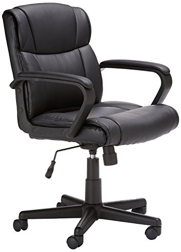 AmazonBasics Classic Leather-Padded Mid-Back Office Desk Chair with Armrest - Black (Swivel Desk Chair Leather)