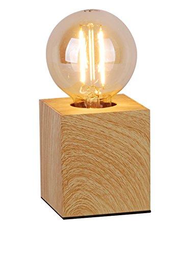 Lucide Pablo – Lámpara de mesa – Cromo mate, metal, madera, E27 40 wattsW 230 voltsV