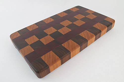 Handcrafted Wood Cutting Board - End Grain Walnut, Purple Heart and Cherry. No slip bottom and easy grips. Cook like a pro with this board!