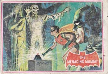 (1966 Topps Batman Red Bat (Non-Sports) card#3 The menacing mummy of the Grade Very Good )