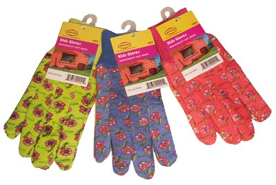 G & F 1823-3 JustForKids Soft Jersey Kids Garden Gloves, Kids Work Gloves, 3 Pairs Green/Red/Blue per - Jersey Store Gardens