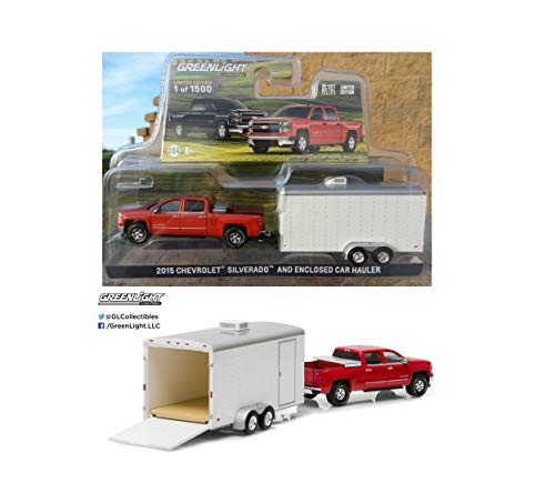 (1:64 Love Gift RED Silverado w/White Enclosed Car Trailer Rare Diecast Vehicle Toy)