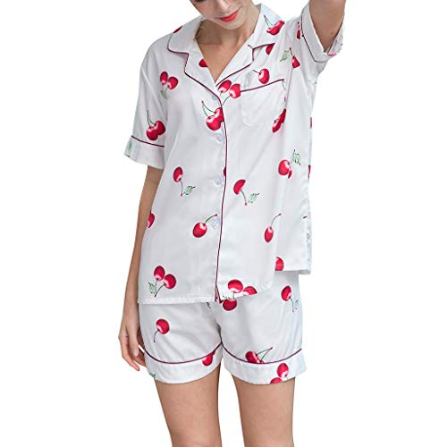 4 Piece Boxer Cami - Women Short Sleeve Shorts Pajamas Lingerie Nightwear Underwear Sleepwear Set White