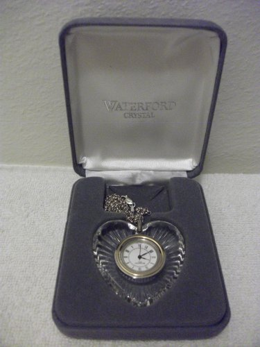(NIB WATERFORD CRYSTAL HEART CLOCK PENDANT W/ STERLING NECKLACE)