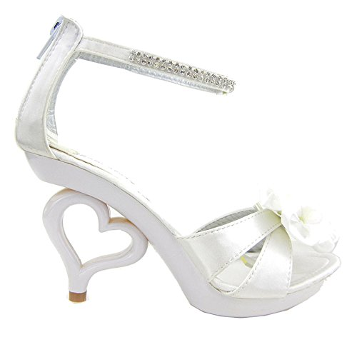 Show Story 11 Colors Removable Flower Ankle Strap Bride Wedding Sandals Shoes,SM33101WT39,8US,White
