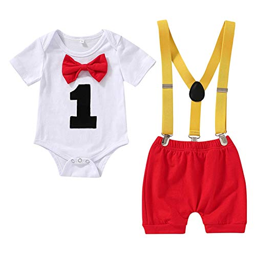 Baby Boy First Birthday Clothes Infant Boy Bow Tie Romper Bodysuit Suspenders Pants Cake Smash Outfits (Red, 1T)