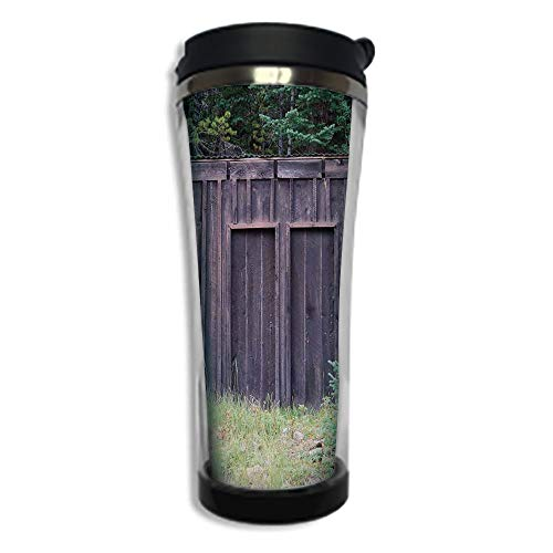 Customizable Travel Photo Mug with Lid - 8.45 OZ(250 ml)Stainless Steel Travel Tumbler, Makes a Great Gift by,Outhouse,Farm Life House Wooden Door of Cottage Hut in Woodland Leaves Art Print,Dark Bro -