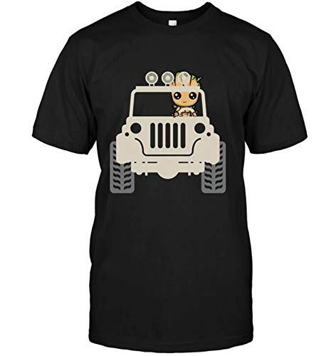 HOSALA Baby Groots Drive Jeeps's T-Shirt Cotton(Black,M) (Jeep 2 In 1 Baby Carrier Recall)