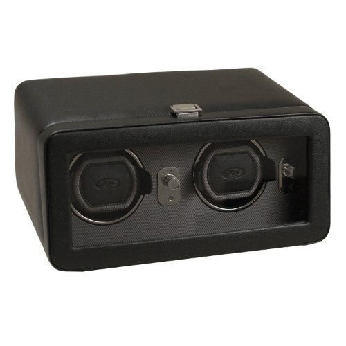 Wolf Designs 4526029 Windsor Collection 2.5 Double Watch Winder with Cover, Black
