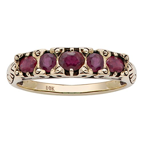 10k Yellow Gold Genuine Ruby Anniversary Ring