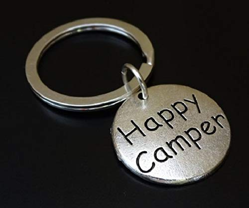 Happy Camper Keychain, Happy Camper Charm, Happy Camper Pendant, Camper Keychain, Camper Key chain, Camper Gift, Gift for Camper, Camping Keychain, Camping Lover, Camper Key chain, Camp Life Gift