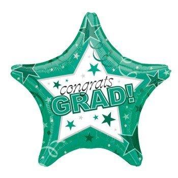 Green Congrats Grad Graduation Star 19 Mylar Balloon by Thavornshop