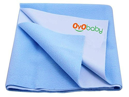 OYO BABY-100% Waterproof Mattress Protector/40 Cups Water Absorbency/Hypoallergenic/Crib Sheets/Underpads/Absorbent Sheet/Changing Pads (Size 220cm X 140cm) {Baby Single Bed Dry Sheet XL} (Light Blue)