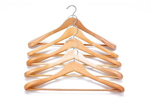 J.S. Hanger Gugertree Wooden Extra-Wide Shoulder Suit Hangers, Wood Coat Hangers Pant Hangers, Natural Finish, 6-Pack