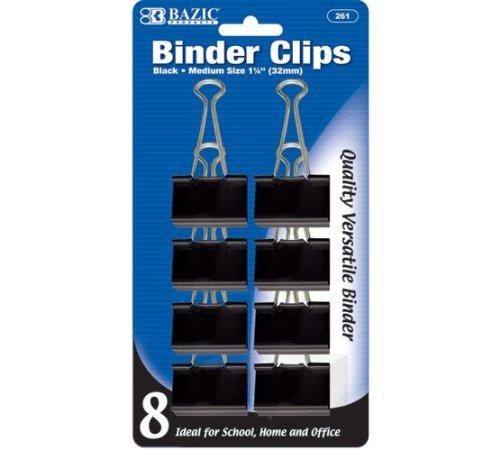 BAZIC Medium 1 1/4'' (32mm) Black Binder Clip (8/Pack), Case Pack of 144