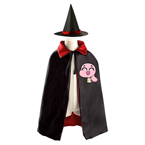 Darwin Gumball Costume (DIY Anais The Amazing World of Gumball Costumes Party Dress Up Cape Reversible with Wizard Witch Hat)