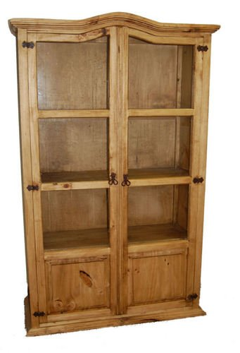 rustic bookcase with glass doors - 9