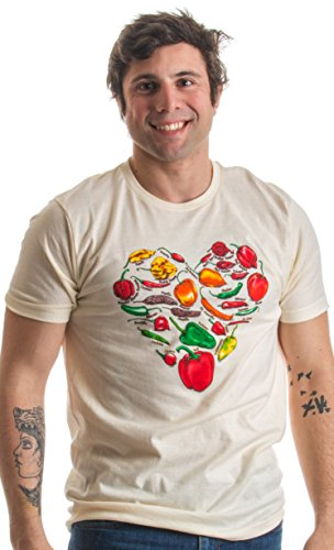 Artsy Pepper Lover Heart | Stylized Spicy Art Foodie Illustration Unisex T-shirt