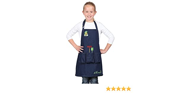con bolsillos y dibujos decorativos bordados La Cordeline CJN45JEG Delantal infantil de jardiner/ía vaquero de algod/ón Talla de 6/a/8/a/ños H56 x L46 cm
