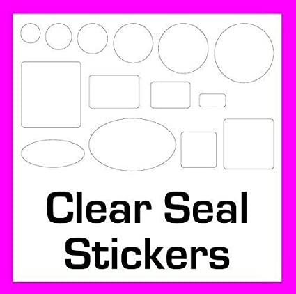 14 sizes to choose from permanent adhesive 45mm Circles 200 Clear seal stickers//labels