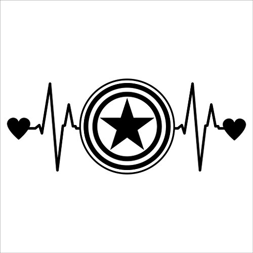 Party Costume Ego Alter Ideas (Captain America Love Heartbeat Avengers Marvel Decal Vinyl Sticker|Cars Trucks Vans Walls Laptop| Black |6.5 x 2.5)