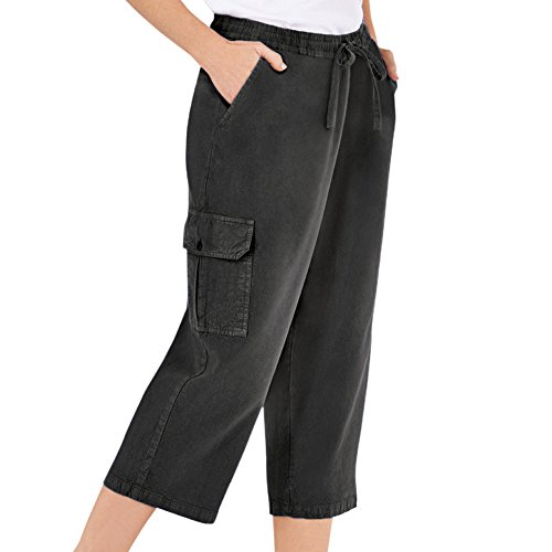 Misses Casual Pants - Collections Etc Women's Elastic Waist Cargo Pocket Capri Pant, Black, Small