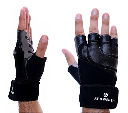 Spowerts Weight Lifting Gloves With Wrist Wraps Support; Extra Padded Gym Workout Gloves for Fitness, Weightlifting, Bodybuilding, for Men and Women: Extra Warranty & FREE eBook