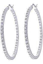 Platinum Plated Sterling Silver Cubic Zirconia Hoop Earrings (40mm)