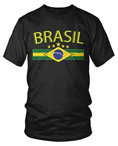 Amdesco Men's Brasil Flag and Country Emblem, Brazil T-Shirt, Black XL