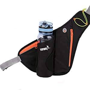 Running Waist Bag Belt Pack Waterproof with Water Bottle Holder-Aucou Unisex Fanny Pack for Sports Hiking Fishing Cycling Camping Travel(Black)