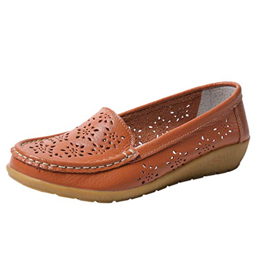 QueenMMWomen's Leather Loafers Breathable Slip on Driving Shoes Casual Comfort Walking Flat Shoes Orange ()