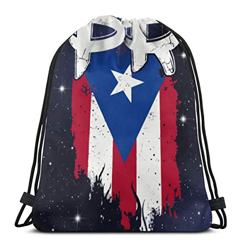 Gym Drawstring Bags Backpack Puerto Rico PR Flag Boricua Sackpack Sport Tote For Travel Storage Shoe Organizer Basketball School Shoulder Bags Gift Bags Adults