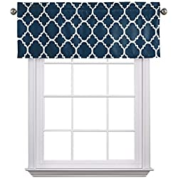 """Flamingo P Moroccan Navy Valance Curtain Extra Wide and Short Window Treatment for for Kitchen Living Dining Room Bathroom Kids Girl Baby Nursery Bedroom 52"""" X18"""""""