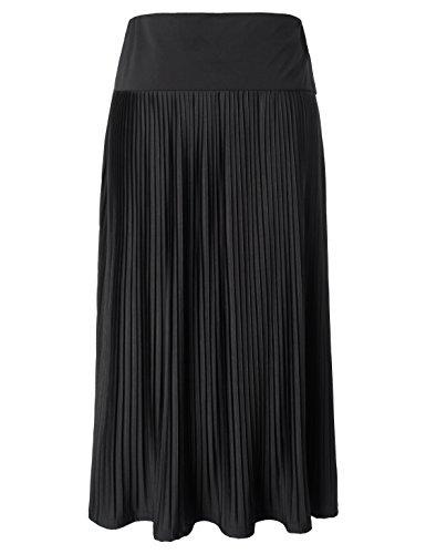 Chicwe Femme Grande Taille tendue Jupe Trapze - Jupe vase Plisse  Taille Haute Longueur du Mollet Noir