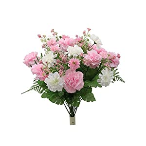 Admired By Nature 16 Stems Artificial Blooming Baby Carnation with Greenery Mixed Bush for Home Office Wedding, Restaurant Decoration Arrangement, Light Pink, 2 Pieces 117