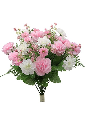 - Admired By Nature 16 Stems Artificial Blooming Baby Carnation with Greenery Mixed Bush for Home Office Wedding, Restaurant Decoration Arrangement, Light Pink, 2 Pieces