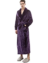 Clearance Men Women Fleece Kimono Bathrobe Soft Full Length Coralline Plush Shawl Robe One Piece Homewear
