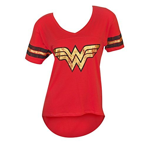 Wonder Woman Juniors Foil Logo Tee Shirt]()