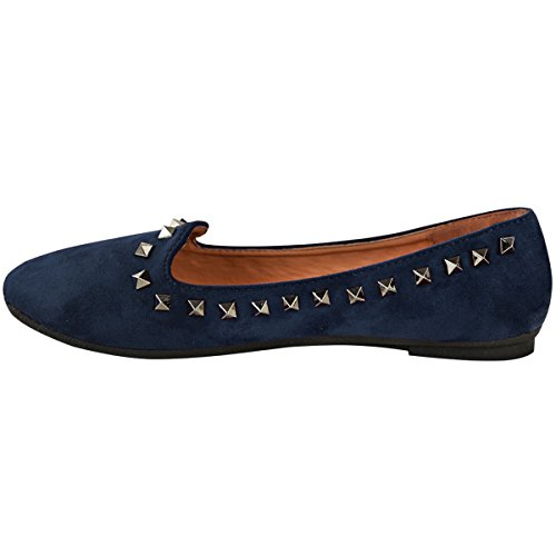 Fashion Thirsty Womens Ladies Studded Flat Slip On Shoes Pumps Ballet Rock Dolly Girls Size New Navy Blue Faux Suede / Gun Metal Studs YyzS5FLOgr