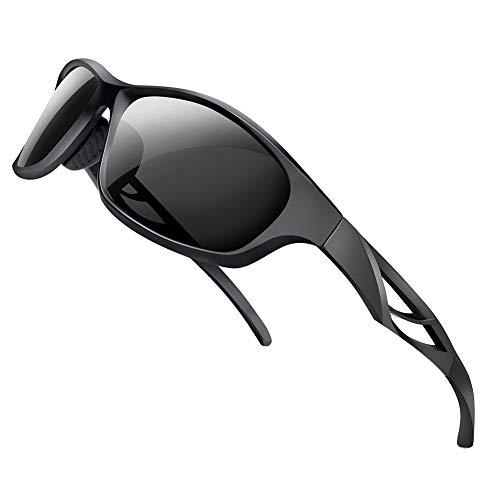 SPOSUNE Unisex Polarized Sports Sunglasses Lightweight TR90 Full Frame Outdoor Cycling Glasses, UV400 Protection Anti Glare Mirrored Coating Eyewear for Women Running Baseball Golf Fishing Gray