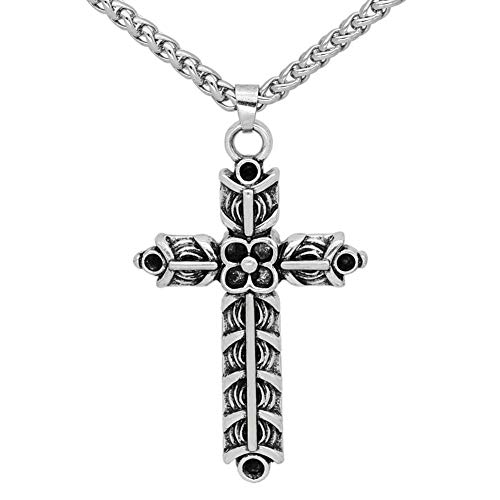 (GuoShuang Nordic Viking Athelstan's Cross Ragnar Amulet Necklace - Double Side)