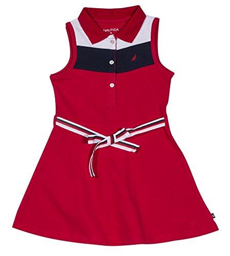(Nautica Girls' Toddler Patterned Sleeveless Dress, Chevron red, 2T)