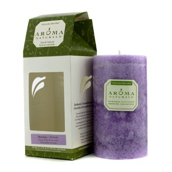 (SERENITY AROMATHERAPY by Serenity Aromatherapy:ONE 2.75 X 5 inch PILLAR AROMATHERAPY CANDLE. COMBINES THE ESSENTIAL OILS OF LAVENDER AND YLANG YLANG TO ENHANCE INNER BALANCE AND WELL-BEING. BURNS APPROX. 75 HRS.)
