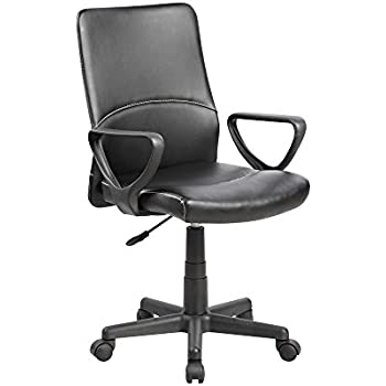 eurosports Task Chair UOC-8048-BK Modern Ergonomic Mid-Back Computer Desk Office Chair,Black