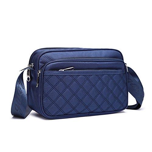 TENGGO Cloth Imperméable Carreaux Sac Bleu Noir Bandoulière Femmes À Oxford Motif 4TrwcRq4U