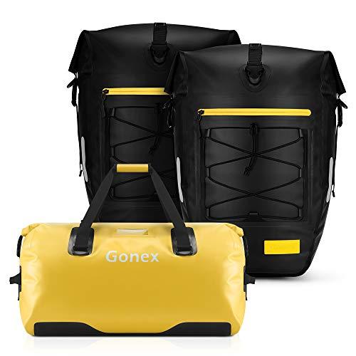 Gonex 80L Large Waterproof Duffle, & 27L 2PCS Upgrade Bicycle Panniers Waterproof Bike Bag