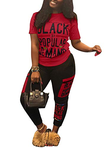 Womens Sexy Two Piece Sports Outfit Shirt Bodycon Pants Joggers Clubwear Tracksuit Sportswear Set Red