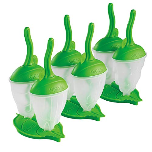 (Tovolo Bug Popsicle Molds with Sticks Ice Pop Maker BPA Free Food Safe Dishwasher Safe - Shapes Include Beetle, Caterpillar and Ladybug, Great for Homemade Juice Popsicles! Set of 6 with Stand!, Green)