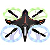 Mini Drone, RC Quadcopter Headless Mode 2.4GHz 4 Chanel 6 Axis Gyro Steady Hold Height Helicopter with Colourful Light, Easy Fly for Training